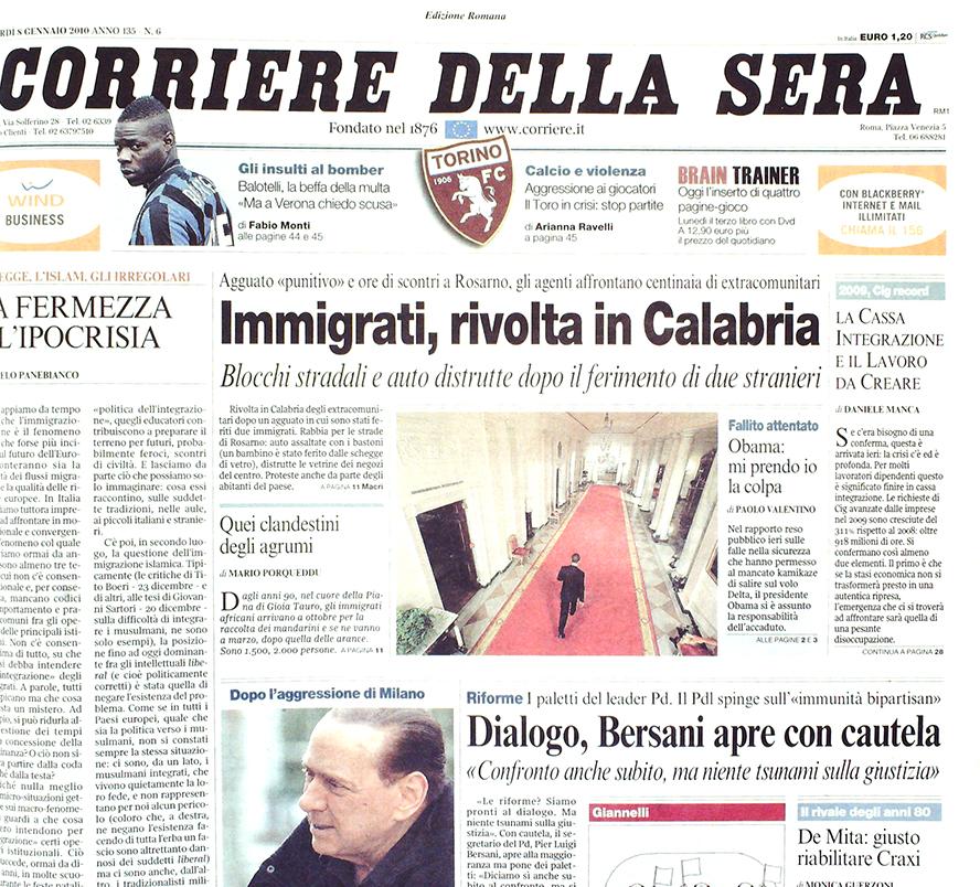 Corriere  della Sera 5 gennaio 2010