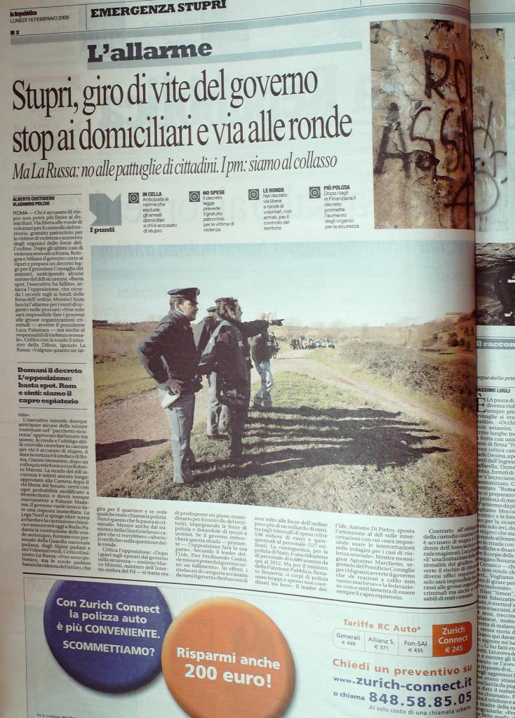 La Repubblica 16 febbraio 2009