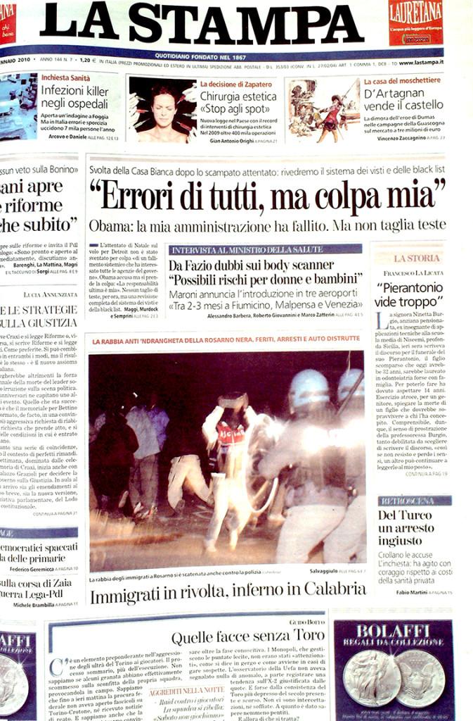 La Stampa 8 gennaio 2010