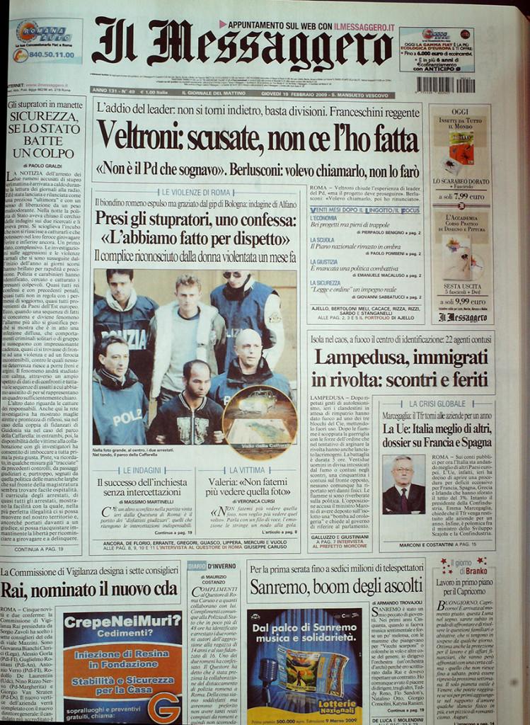 Messaggero 19 febbraio 2009