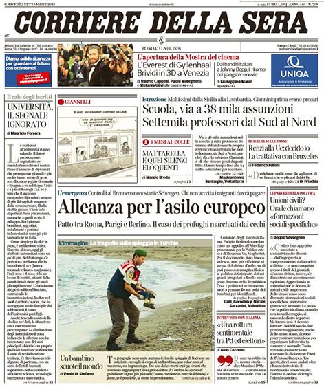 Il corriere della Sera 3 settembre 2015